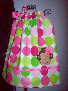 Mod Monkey Pillowcase Dress Hot Pink Lime Green Dots by molliepops, $26.00