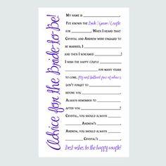 Vintage Bridal Shower Games   Bridal Shower Advice Cards - Printable Game - Elegant Style - Digital ...