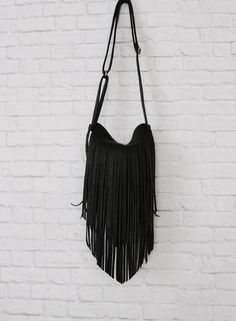 Boho Black Leather Fringed Purse / Black by RusticMoonLeather
