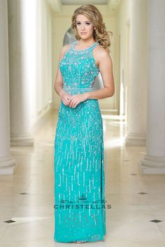 This sparkling Aqua colored dress is sure to impress at an Under the sea event! Sean Collection 50677 Dress / $420 - shop the look at www.christellas.com #prom #dresses #christellasxoxo