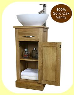 Solid Oak Bathroom Vanity Furniture Unit Sink Cabinet Ceramic Bowl Sink Tap Plug