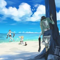 My precious babies at the beach! <3 love how Eren and Armin are playing in the water already | SNK