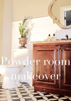DIY Powder Room Makeover (shiplap and painted tile)
