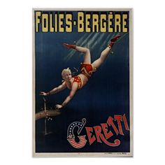 Folies Bergere, Vintage French Circus Trapeze Posters
