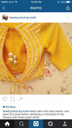 Oh my! Pearls n yell ow Saree Blouse Neck Designs, Simple Blouse Designs, Stylish Blouse Design, Choli Designs, Bridal Blouse Designs, Designer Blouse Patterns, Indiana, Sarees, Lehenga
