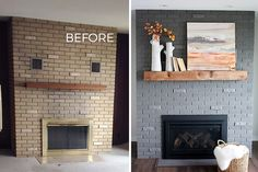 Brick fireplace makeover before and after pics. The gray paint we used on this worked SO GOOD, once we figured out the best way to put it on. We love the sherwin Williams gray paint color too.
