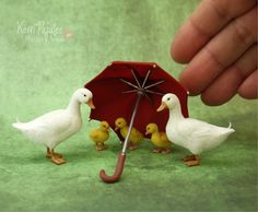 """""""Ain't nobody here but us chickens""""Here are a few little hens and chicks hand sculpted in miniature 1:12 scale using polymer clay, wire for feet, and dressed in blended cotton & cas..."""