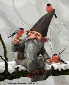 Bullfinch with Garden Gnome Greeting Card Woodland Creatures, Magical Creatures, Fantasy Kunst, Fantasy Art, Kobold, Bullfinch, Elves And Fairies, Nature Spirits, Gnome Garden