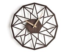 oversized wall clock | modern wooden clock |  geometric clock | laser cut wall clock |  wenge wall clock | decorative clock |