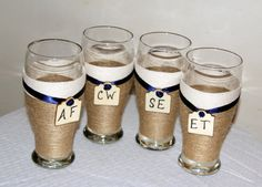 Bridal Party Wedding Toasting Glasses / by CarolesWeddingWhimsy, This Bridal Party Toasting Glass is a Rustic Wedding Toasting Glasses your way.  You choose the ribbon colors.  These Monogram Rustic Wedding Glasses are perfect for that Country Wedding of any season. You can find them here https://www.etsy.com/listing/271715064/bridal-party-toasting-glasses-monogram  https://www.etsy.com/shop/CarolesWeddingWhimsy https://www.facebook.com/CarolesWeddingWhimsy