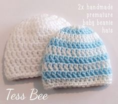 Premature Baby Hats 2 NICU Hats Twin Hats Tiny Baby | Etsy Baby Boy Beanies, Boys Beanie, Crochet For Boys, Crochet Baby Hats, Baby Boys, Baby Hat Knitting Pattern, Crochet Patterns, Baby Patterns, Handmade Baby Gifts