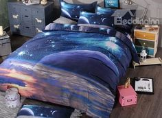 Magic Universe Print 4-Piece Polyester Duvet Cover Sets #bedroom #bedding #galaxy