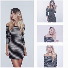 Vestido Listras Decote Canoa ❤️ R$ 239,00 ❤️  http://www.theblendshop.com.br/roupas/vestidos1