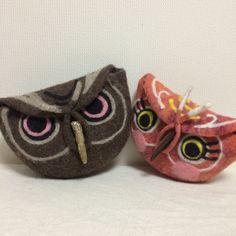cute owl pouches by Mariko Kawai