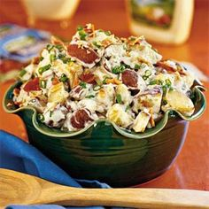 Ingredients  Roasted Potato salad  2 tablespoons olive oil  2 pounds small red potatoes, diced  1/2 medium-size sweet onion, chopped  2 teaspoons minced garlic  1 teaspoon coarse salt  1/2 teaspoon freshly ground pepper  8 to 10 cooked crisp bacon slices, crumbled  1 bunch green onions, chopped  3/4 cup prepared Ranch dressing  Salt and pepper to taste