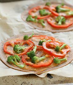 Gluten-free Lentil Rice Crust Pizza with Buffalo Mayo sauce, Red Bell Peppers and Broccoli. Vegan Gum-free Oil-free Recipe   Vegan Richa #vegan #gf