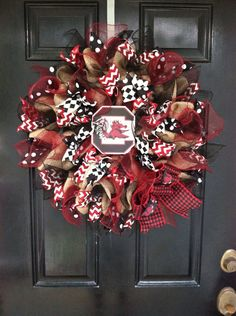 Large Burlap Mesh Ribbon Collegiate Wreath by DesignTwentyNineSC