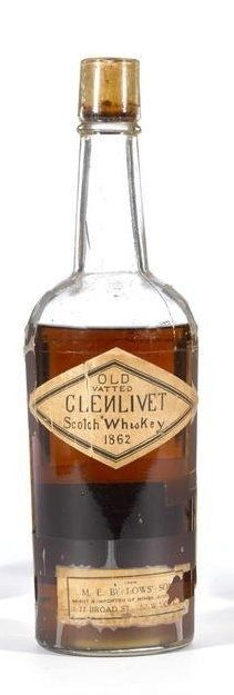 Old Vatted Glenlivet 1862 M. Some cracking of label. Small portion of lower label missing. Driven cork intact and tight, but some evidence of insect damage. No proof stated. Cigars And Whiskey, Scotch Whiskey, Bourbon Whiskey, Whiskey Bottle, Rare Whiskey, Fun Drinks, Alcoholic Drinks, Single Malt Whisky, Wine And Beer