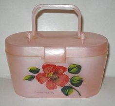MOONGLOW Pink LUCITE Child's Handpainted BOX Purse