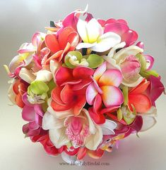 The Cassie Beach Wedding Bouquet in Pink, Coral, Coconut and Lime on Etsy, $165.00