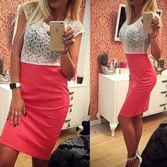 Red Patchwork White Lace Round Neck Short Sleeve Mini Dress - MalangFashion