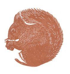Main tiré linogravure limited edition print d'un écureuil