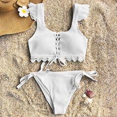 Cupshe Fairy Land Lace Bikini Set Swimsuit Beach Bathing Suit Swimwear Brazilian Biquini monokini Maillot De Bain