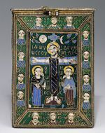 Reliquary of the True Cross (Staurotheke), late 8th–early 9th century, Byzantine; Made in Constantinople, Cloisonné enamel, silver, silver-gilt, gold, niello (17.190.715ab)