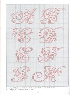 ru / Фото - belles lettres au point de croix - leads to other letters & other ideas. Cross Stitch Alphabet Patterns, Embroidery Alphabet, Cross Stitch Letters, Cross Stitch Love, Embroidery Monogram, Cross Stitch Charts, Cross Stitch Designs, Hand Embroidery, Cross Stitching