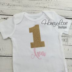 Personalized NAME - number 1 one light pink and gold glitter shirt bodysuit, First Birthday, 1st Cake Smash baby girl infant toddler by HoneyLoveBoutique