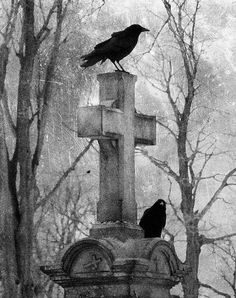 Graveyard. Ravens. Cross