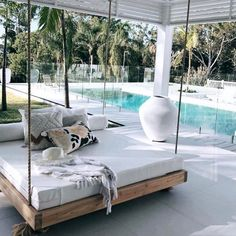 Interior decorating and home design ideas to make your place a better. Living room, bedroom, kitchen, and other rooms inspirations. Outdoor Hanging Bed, Hanging Beds, Outdoor Rooms, Outdoor Living, Outdoor Day Beds, Hanging Porch Bed, Hanging Chairs, Backyard Beach, My Dream Home
