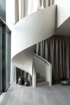 Grey Pin Tucked Curtains, Grey and White Interior, Light Wood Floor, Staircase