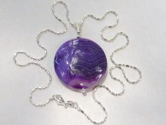 Purple Onyx Agate Necklace Sterling Silver by AlwaysCrafty77, $18.00