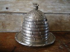Vintage Silver Beehive Honey Pot Skep corbell & co