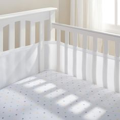 BreathableBaby Breathable Mesh Crib Liner is a Safer alternative to traditional crib bumpers! BreathableBaby offers a design alternative to traditional bumpers, which are thick, plush or pillowy and less breathable. No more worries! The award-winning Breathable Mesh Crib Liner helps prevent suffocation, re-breathing carbon dioxide, and getting arms and legs stuck in crib slats. The simple, stylish design will coordinate with any nursery d cor. Made with Suffocation Prevention Technology…