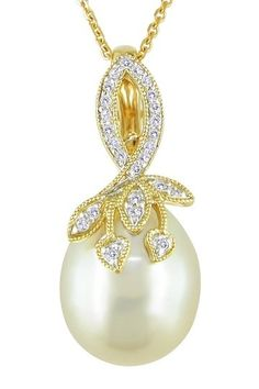Michiko Pearls, 18K Yellow Gold 11-12mm Yellow South Sea Pearl & Diamond Leaf Motif Pendant Necklace by sandra1969
