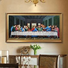 Items similar to Last Supper wall art Painting Jesus Christ Painting On Canvas catholic art Wall Art Pictures for Decor leonardo da vinci reproduction on Etsy Last Supper Art, The Last Supper Painting, Framed Wall Art, Wall Art Decor, Canvas Wall Art, Bull Painting, Oil Painting On Canvas, Jesus Christ Painting, Catholic Art