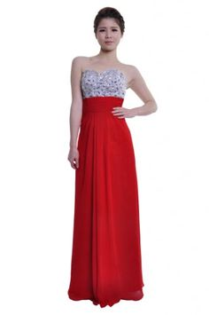 Moonar Chiffon Strapless Sweetheart A Line Prom Formal Gown Party Bridesmaid Wedding Dress | Online Shopping eXperience