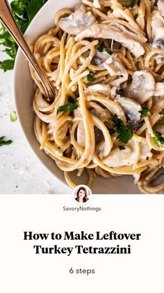 How to Make Leftover Turkey Tetrazzini by Savory Nothings • Jumprope Best Thanksgiving Side Dishes, Thanksgiving Feast, Thanksgiving Recipes, Holiday Recipes, Turkey Tetrazzini, Side Dishes For Chicken, Lotsa Pasta, Turkey Dishes, Leftover Turkey