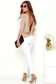 Walk Twist Way Light Brown Long Sleeve Top at Lulus.com!