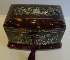 Stunning Antique English Mother of Pearl Inlaid Tortoise Shell Tea Caddy c.1850 from Puckering's on Ruby Lane