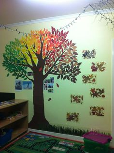 A family tree I made at my childcare centre. Coloured paper, scissors and blu tac. The autumn leaves and grass to the right are the real thing laminated! More