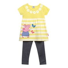 Peppa Pig Girl's yellow striped 'Peppa Pig' top with leggings Yellow Short Sleeve Tops, Peppa Pig Family, Pig Girl, Yellow Stripes, Debenhams, Little Girls, Girl Outfits, Girly, Leggings
