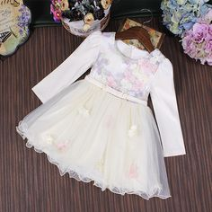 68.17$  Watch here - http://alihun.worldwells.pw/go.php?t=32704437397 - Wholesale 5pcs/lot Girl Dresses Princess Party Ball Gown Kids Dress Girls Clothes Flowers Colourful Embroidery Children Dress