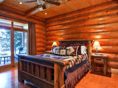 Shuswap Lake Log Home Bedroom