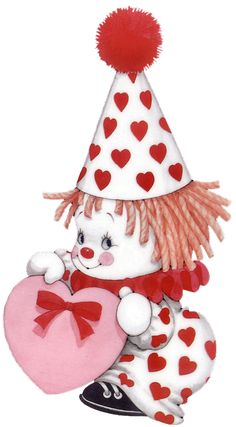 lleno de corazones images mignonnes, cute clown, creepy - valentines day ruth morehead PNG image with transparent background png - Free PNG Images Clown Mignon, Cute Clown, Creepy Clown, Digi Stamps, Cute Illustration, Be My Valentine, Vintage Images, Clipart, Cute Cartoon