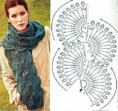 Pin about Crochet scarves, Crochet and Crochet scarf tutorial on wzory Crochet Scarf Tutorial, Poncho Crochet, Freeform Crochet, Crochet Scarves, Crochet Motif, Crochet Clothes, Crochet Lace, Crochet Stitches, Free Crochet