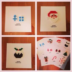 Christmas cards hama beads by beadgeekcreations