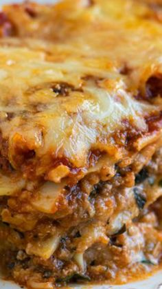 Classic Beef and Sausage Lasagna ~ This is a wonderful recipe – nothing too fancy, just layers of pasta, meat sauce, a ricotta cheese mixture, and mozzarella – and it's one that everyone should have in their own recipe collection!